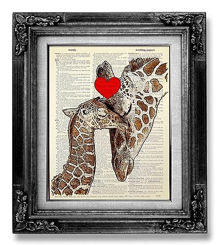 A Mother/'s Love Giraffe and Baby Art Print