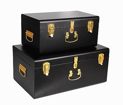 WiiSHAM Black Vintage Style Steel Metal Storage Trunk Set With Gold Handles    Dorm U0026
