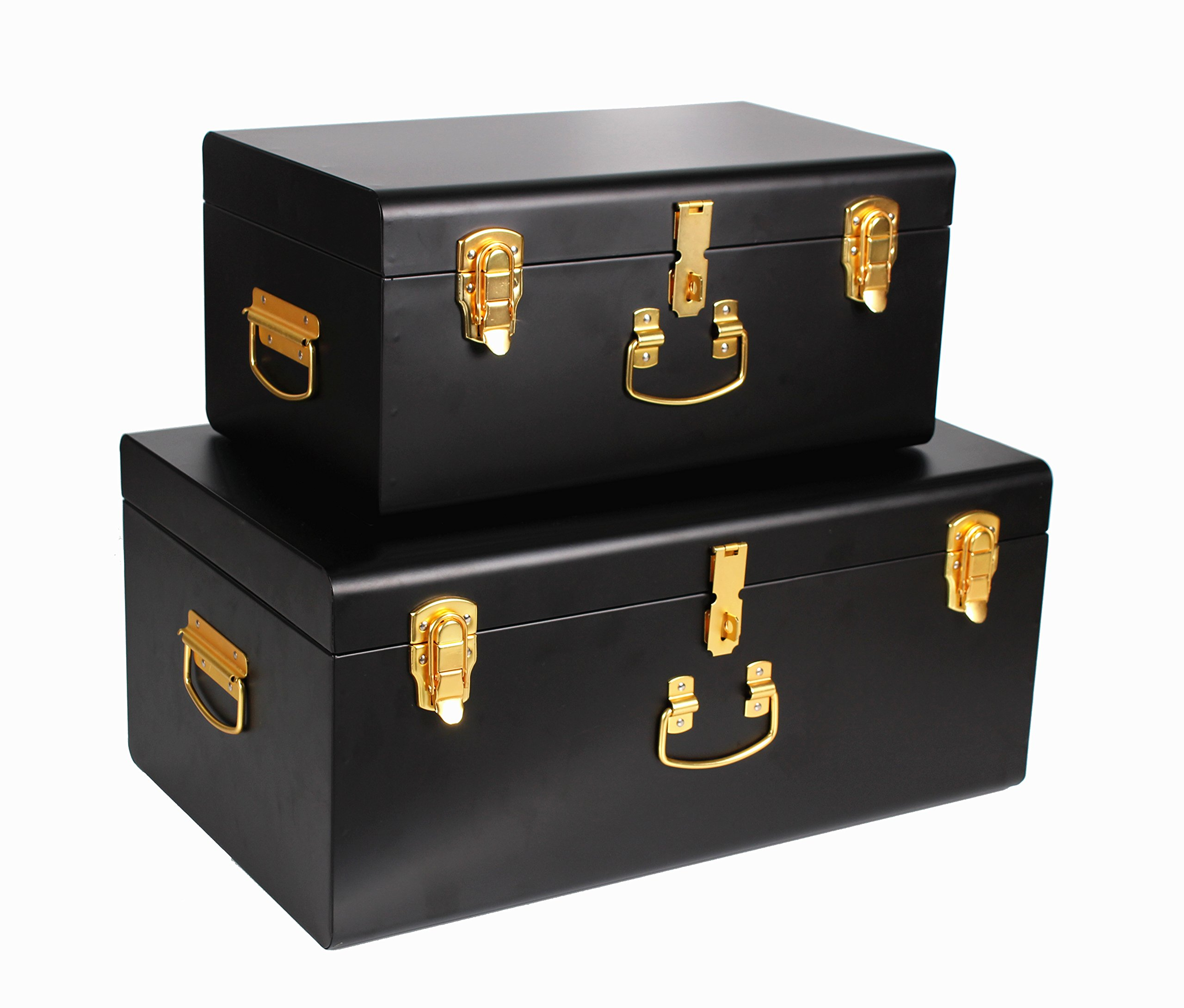 WiiSHAM Black Vintage-Style Steel Metal Storage Trunk Set with Gold Handles - Dorm & Bedroom Footlocker