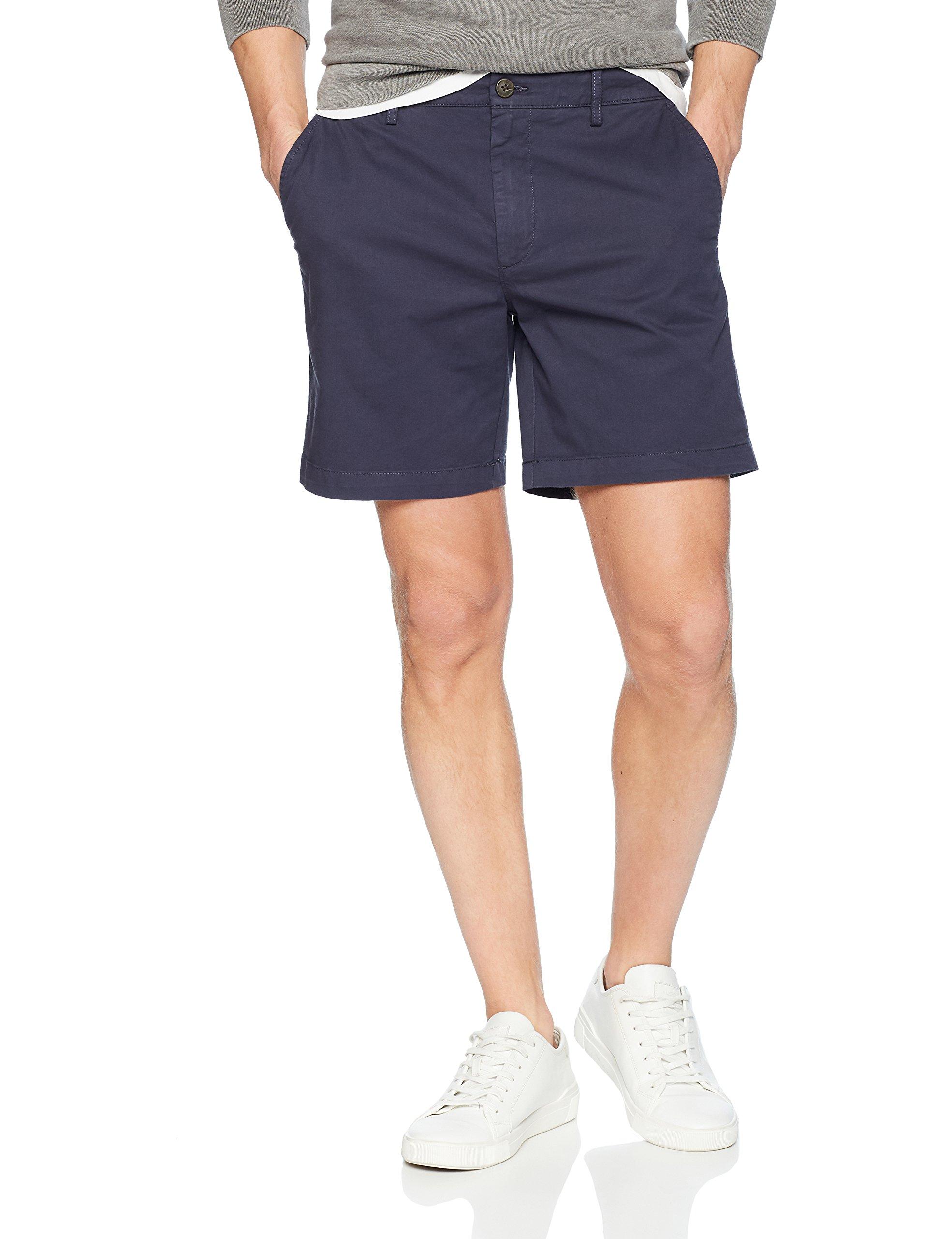 Goodthreads Men's 7'' Inseam Flat-Front Stretch Chino Short, Navy, 36