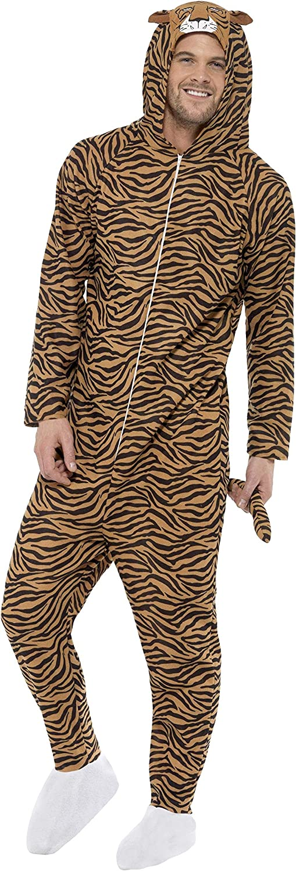 Tutto in uno con cappuccio marrone Smiffys Costume da Tigre
