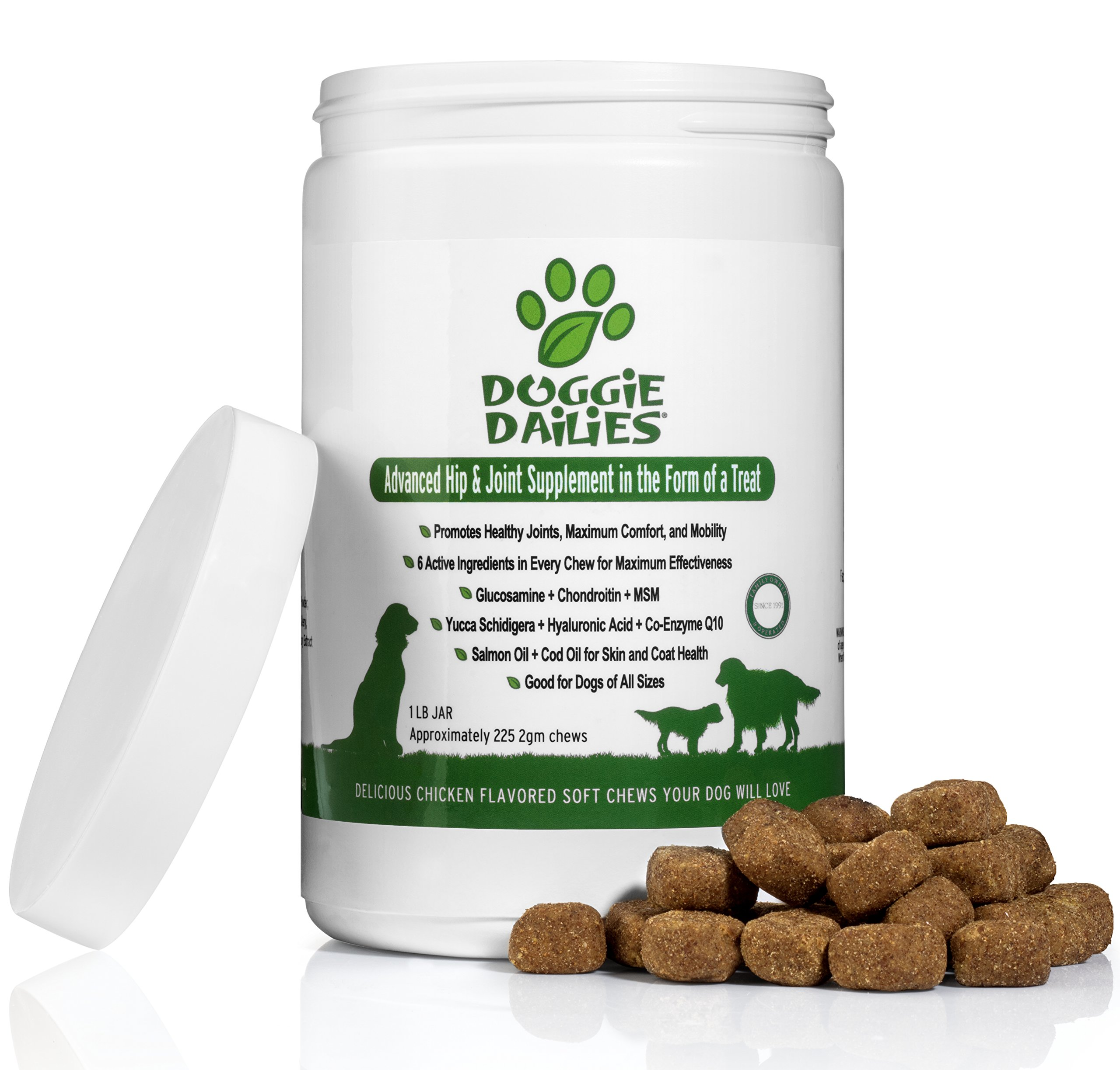 Doggie Dailies Glucosamine for Dogs: 225 Soft Chews, Advanced Hip and Joint Supplement for Dogs with Glucosamine, Chondroitin, MSM, Hyaluronic Acid & CoQ10, Premium Joint Relief for Dogs, Made in USA