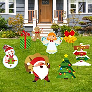 Christmas Decorations Outdoor, 8 Pcs Yard Signs for Christmas Props Yard Stakes, Santa Claus and Snowman Lawn Yard Holiday Decor, Xmas Outdoor Yard Sign Lawn Decor Winter Ornaments