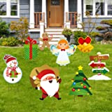 Christmas Decorations Outdoor, 8 Pcs Yard Signs for Christmas Props Yard Stakes, Santa Claus and Snowman Lawn Yard Holiday De