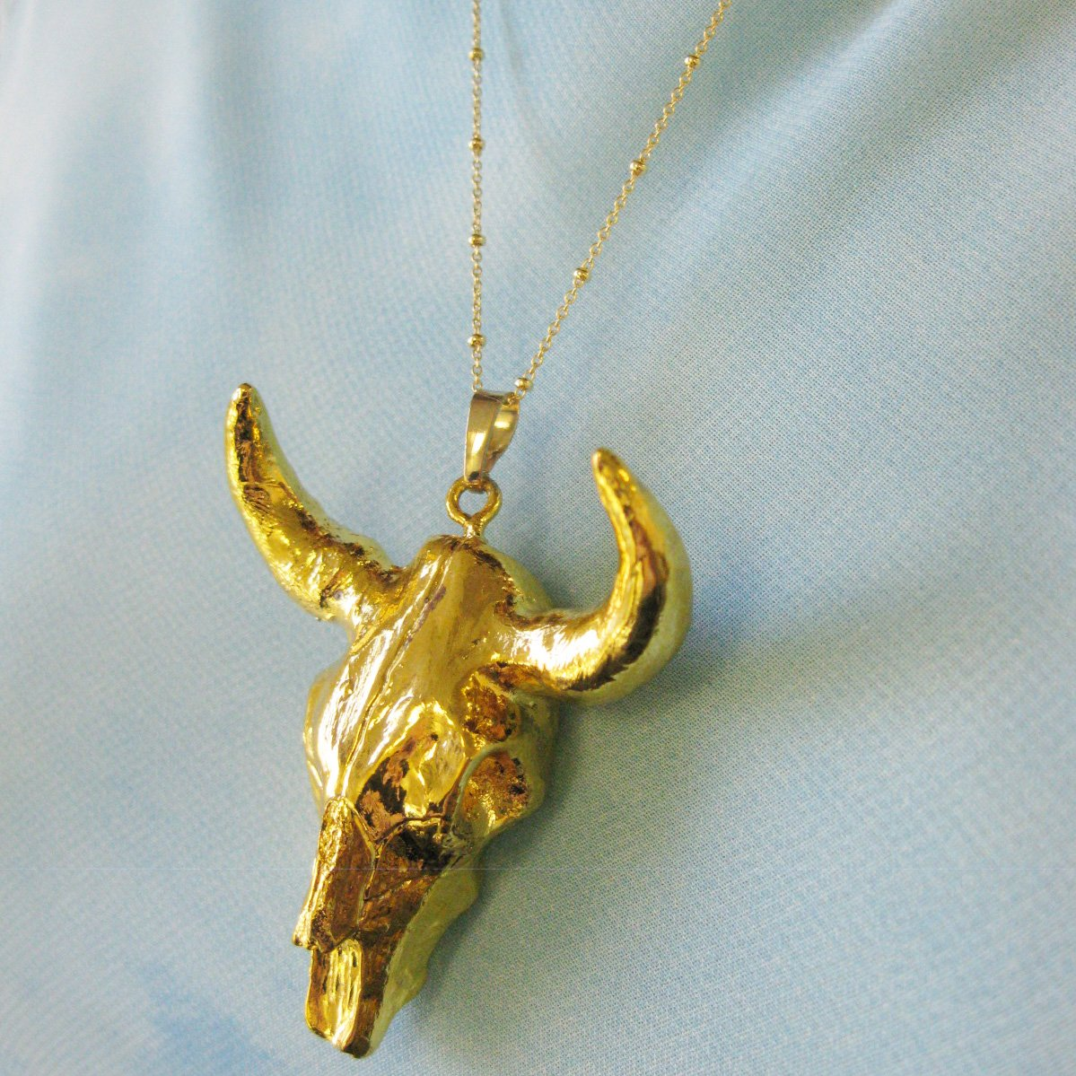 Longhorn Necklace Gold Covered Cattle Skull Pendant Necklace Gold plated Sterling Silver Necklace Chain