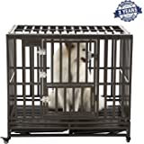 SMONTER Heavy Duty Strong Metal Dog Cage Pet Kennel Crate Playpen with Wheels,I Shape …
