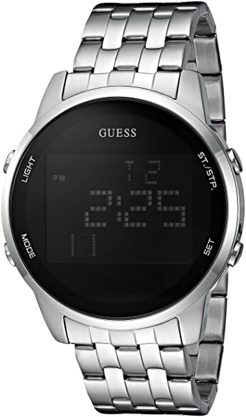 1c81b9924b4b Guess Hombre Negro y Digital Cronógrafo Plateado Reloj  Amazon.es  Relojes