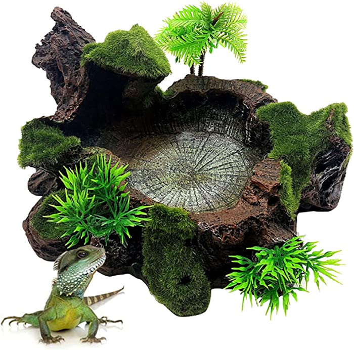 Hamiledyi Artificial Tree Trunk Reptile Platform Resin Reptile Tank Decor Food Water Dish Bowl with Mossy for Bearded Dragon,Lizard, Gecko, Water Frog,Snake