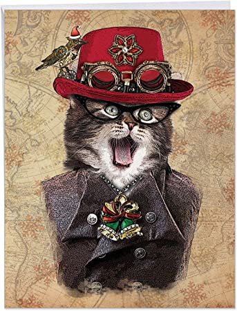 Amazon Com Humorous Steampunk Cats Red Hat Merry Christmas Card With Envelope Big 8 5 X 11 Inch A Big Steampunk Kitten And Cat Holiday Greeting Card J6554cxsg Office Products