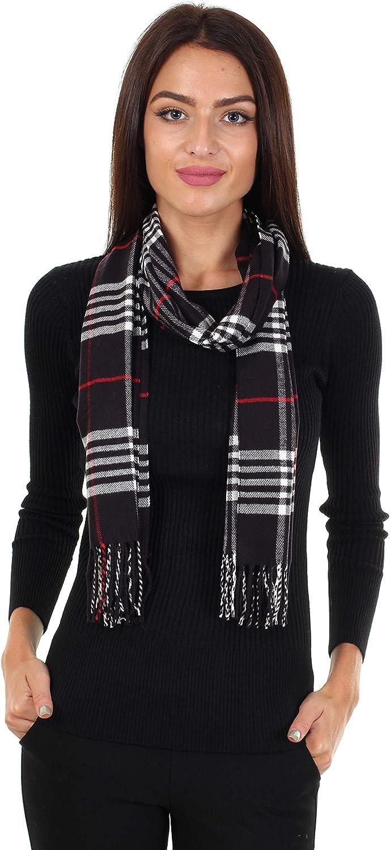 DG Men/'s Winter Scarf Striped White Black,Cashmere Feel Warm Soft*Unisex