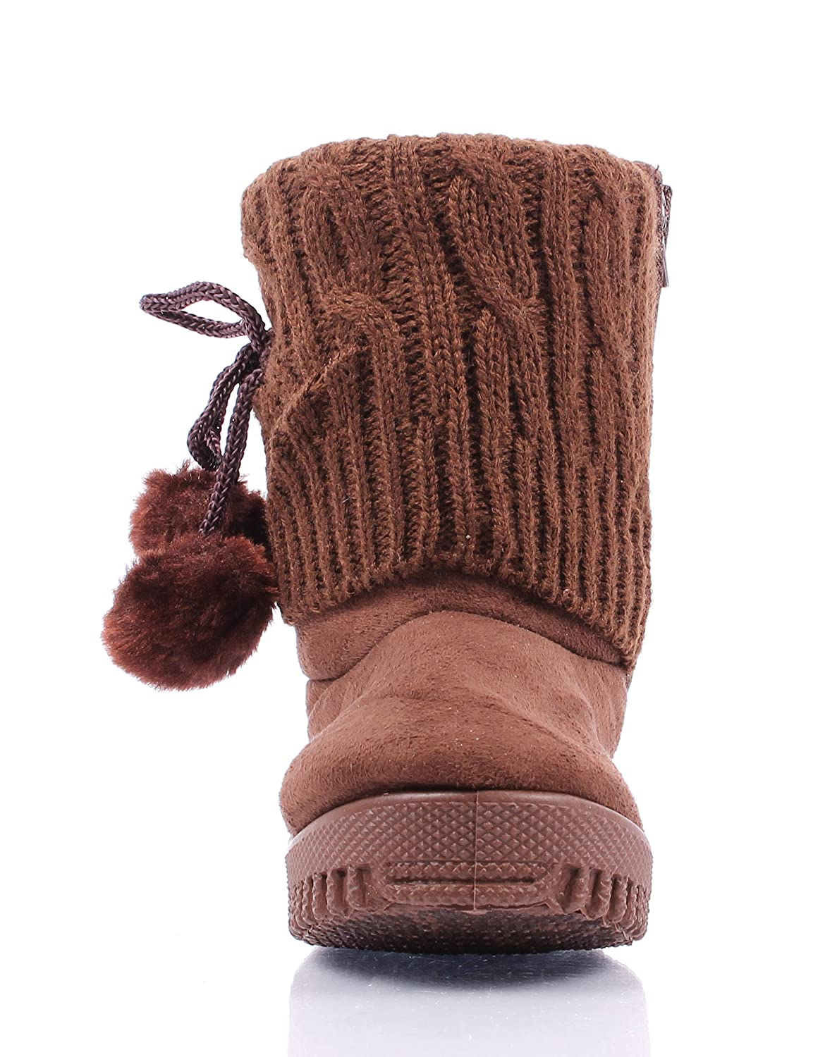 weyoh New Cute Faux Suede Pom Pom Casual Zipper Booties Toddlers Kids Girls Winter Boots New Without Box