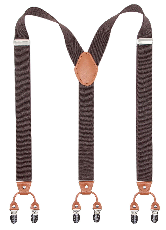 Bioterti Men's Y-Shaped Heavy Duty Suspenders – 6 Metal Clips, Elastic Straps (Coffee)