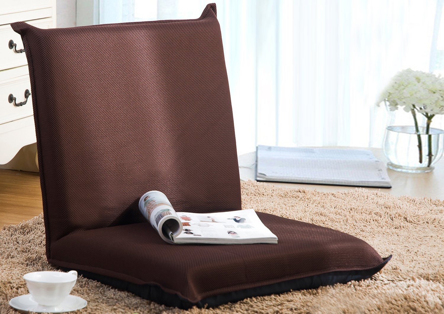 Amazon.com: Merax Floor Chair Lazy Man Sofa Chair Home Essential Lovers  Folding Sofa Chair (Brown): Home U0026 Kitchen