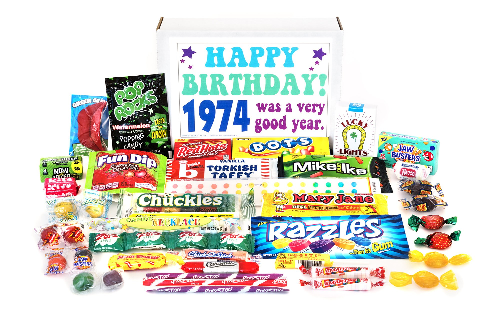 Woodstock Candy ~ 1974 45th Birthday Gift Box of Nostalgic Retro Candy from Childhood for 45 Year Old Man or Woman Born 1974 Jr