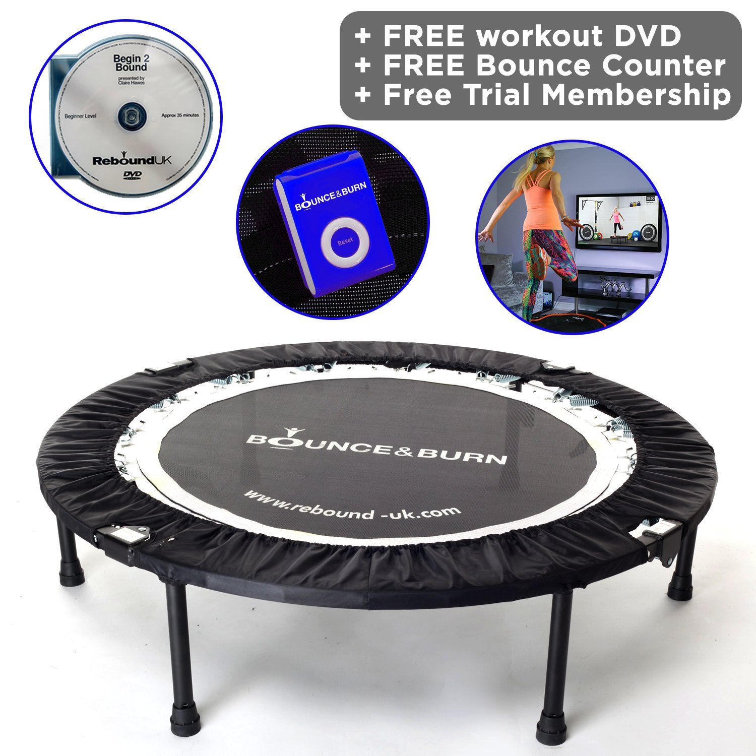 Maximus Life Bounce & Burn Foldable Indoor Mini Trampoline Rebounder for Adults. Fun Way to Lose Weight and get FIT! Includes Rebounding Workout DVD, Video Membership. Optional Handle Bar. by MXL MaXimus Life