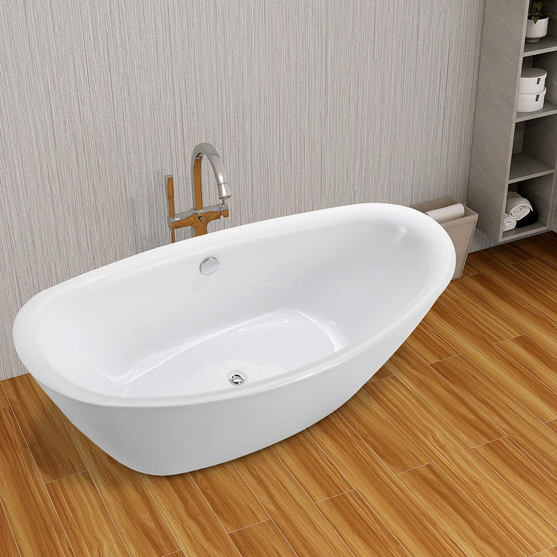 Vanity Art 71 Inch Freestanding Acrylic Bathtub Modern Stand Alone Soaking Tub With Chrome Finish Upc Certified Round Overflow And Pop Up Drain Va6807