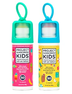 Project Sunscreen Roll-On SPF 50 Sun Protection for Kids - Natural Mineral Based and Water Resistant Formula For Sensitive Skin Pink/Yellow Combo 2 pack