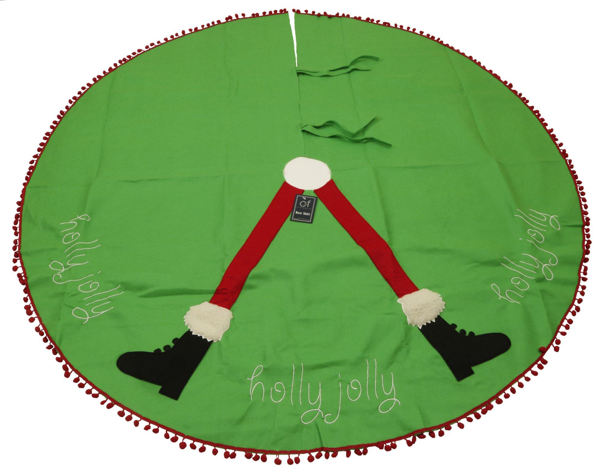 C&F Home 54'' Felt Christmas Tree Skirt, Santa's Legs Green