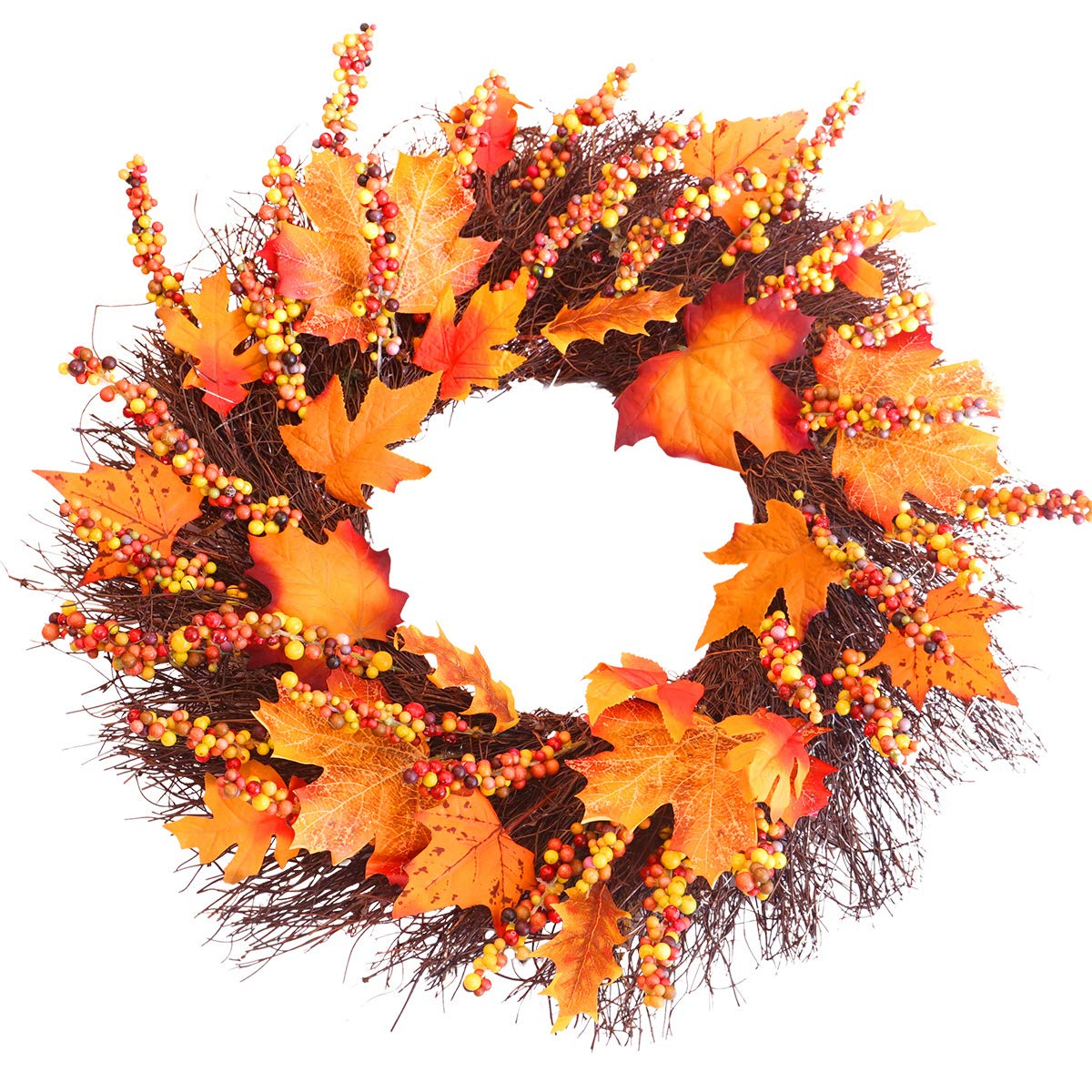 Fall Wreath, 18 inch Front Door Wreath, Christmas Wreath with Maple Leaf and Berry, Halloween Easter Wreath for Front Door, Ideal for Autumn & Halloween & Thanksgiving Day, Indoor Outdoor (yellow) by MeetSun