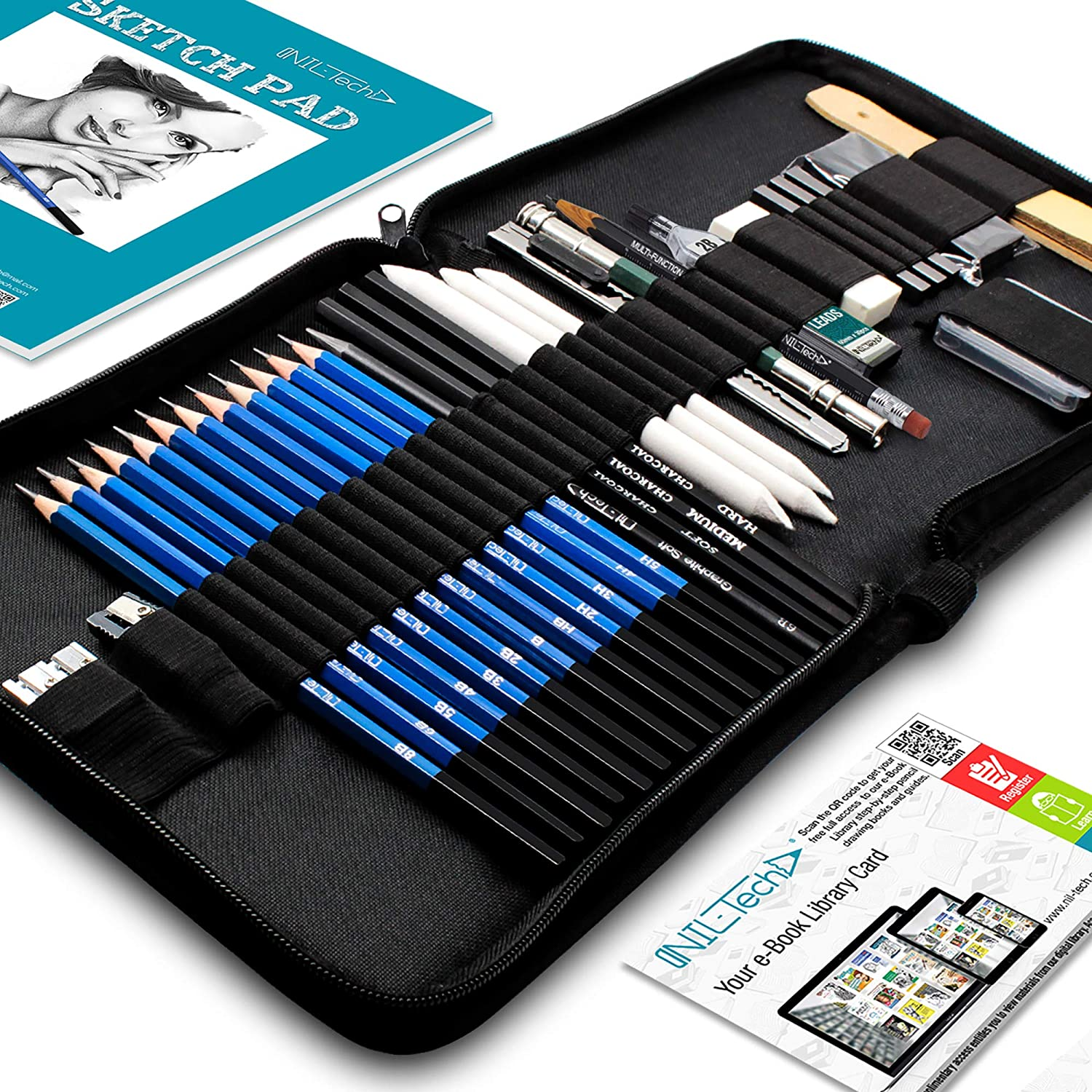Drawing Pencils Art Supplies - 37 Sketching Art Set - Each art supply Includes Sketch Book and BONUS Digital Library Drawing Tutorials Cool Stuff - Pencil Pouch, Graphite Charcoal Pencils, Erasers
