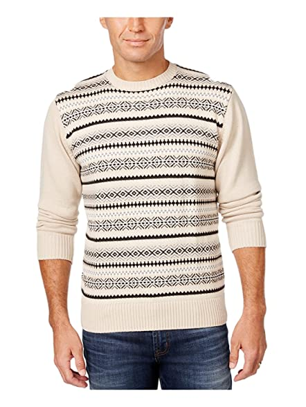 Weatherproof Vintage Mens Fair Isle Sweater Cream at Amazon Men's ...