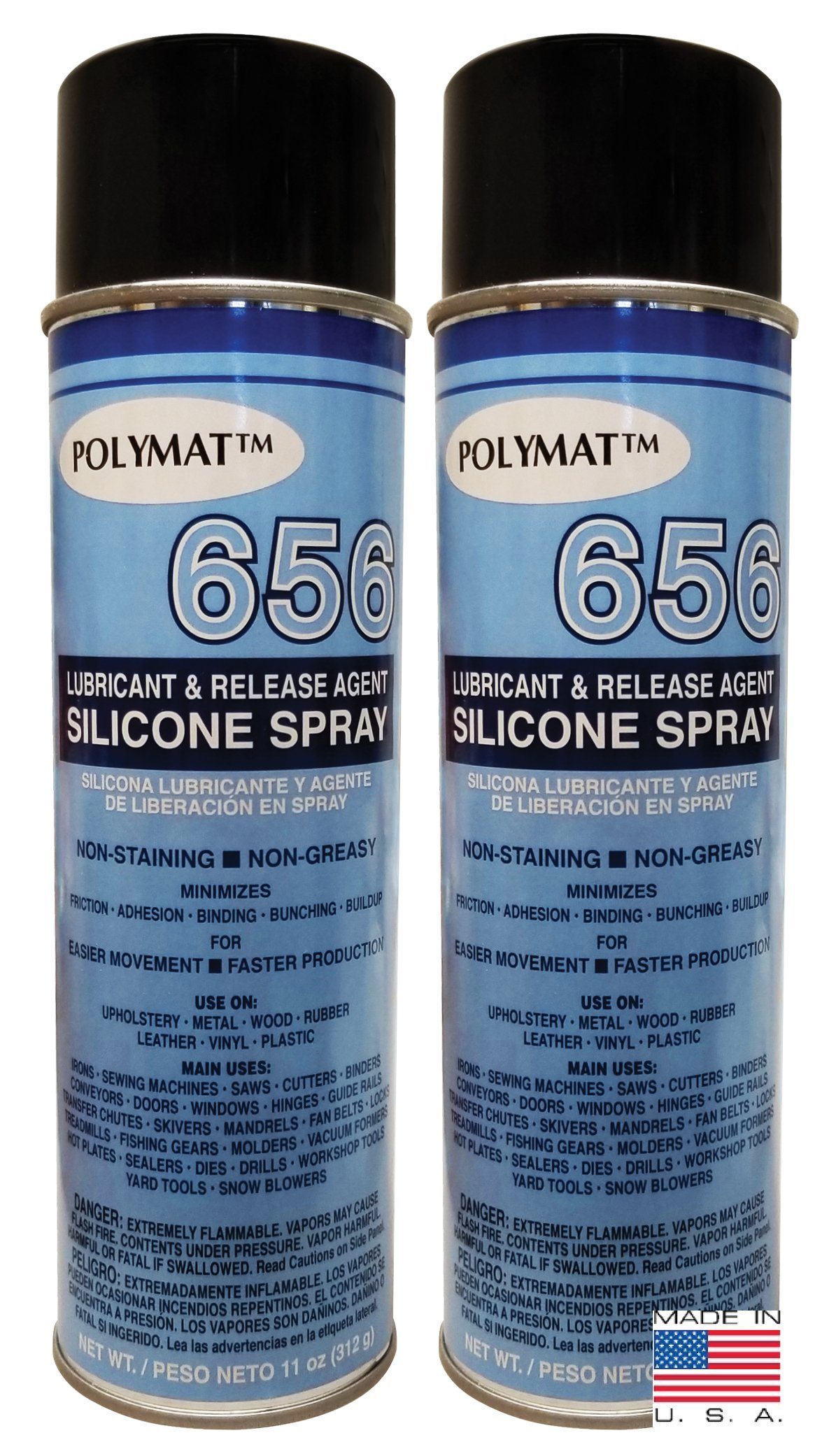 QTY 2 Polymat 656 SILICONE SPRAY NON GREASY LUBRICANT FOR DRILLS WORKSHOP TOOLS