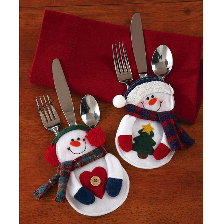 Navidad conjunto de la cuchiller/ía Traje Decoraci/ón mesa los titulares los titulares de 9Pcs utensilios del mu/ñeco de nieve Cuchillos bolsa Forks bolsa para la decoraci/ón Bolsita para cubiertos