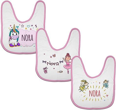 LolaPix Pack Regalo Bebe. 3 Baberos Bebé Personalizados Nombre ...