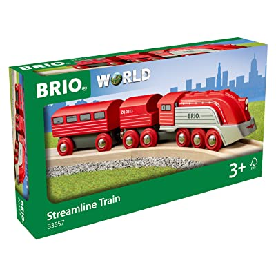 Brio World 33557 - Streamline Train - 3 Piece Wooden Toy Train Set for Kids Ages 3 and Up: Toys & Games