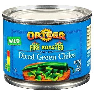 Ortega Fire Roasted Diced Green Chilis, Mild, 4 oz