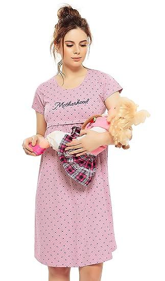 6e6d57fb2c393 ZEYO Women's Cotton Delightful Pink Maternity Dress | Printed Feeding Night  Dress