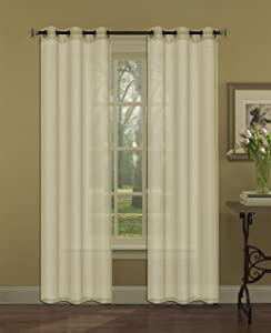 Beatrice Home Fashions Solid Voile Grommet Panel Pair, 80