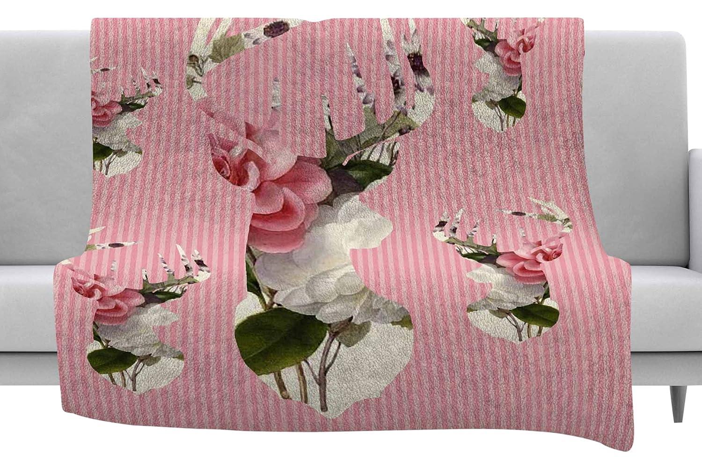 Kess InHouse Suzanne Carter Floral Deer Pink White Throw, 60' x 40' Fleece Blankets