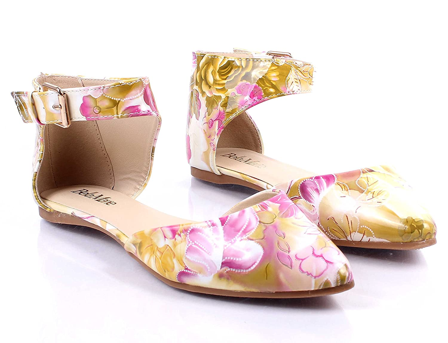 weyoh Floral Print Casual Lady Ankle Strappy Point Toe Fashion Women Ballet Flats Size Without Box