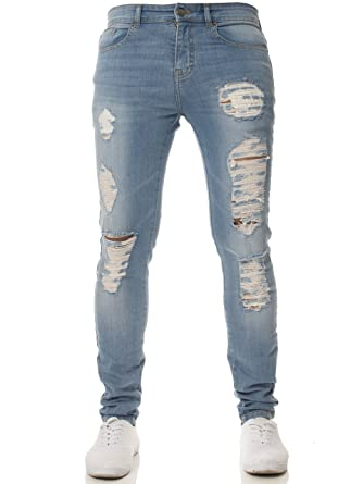 5e64e5f49a27 Enzo New Mens Super Stretch Skinny Jeans Ripped Distressed Designer   Amazon.co.uk  Clothing