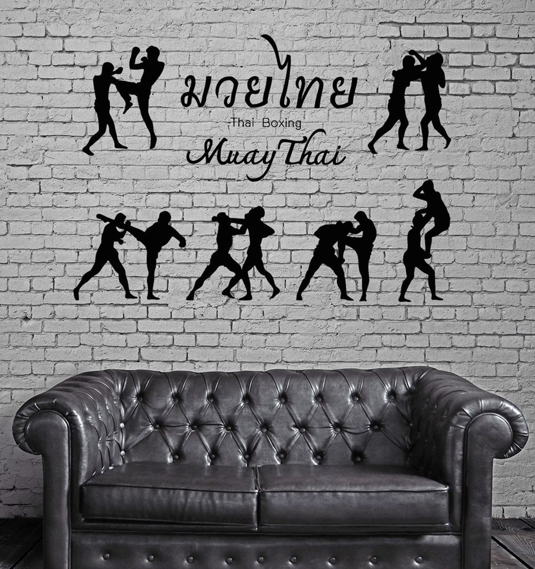 BorisMotley Wall Decal Thai Boxing Martial Arts Vinyl Removable Mural Art Decoration Stickers for Home Bedroom Nursery Living Room Kitchen by BorisMotley