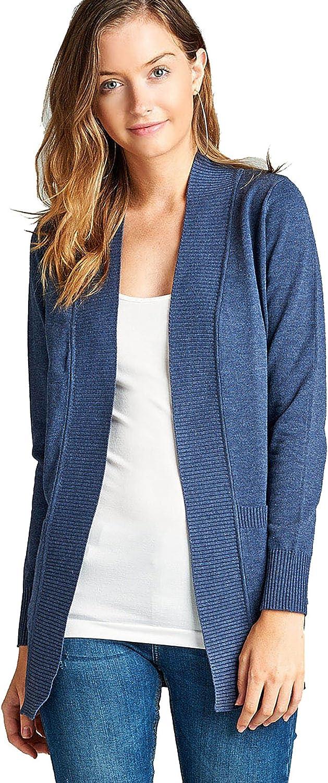 Women's Long Sleeve Cardigan Open Front Draped Sweater Rib