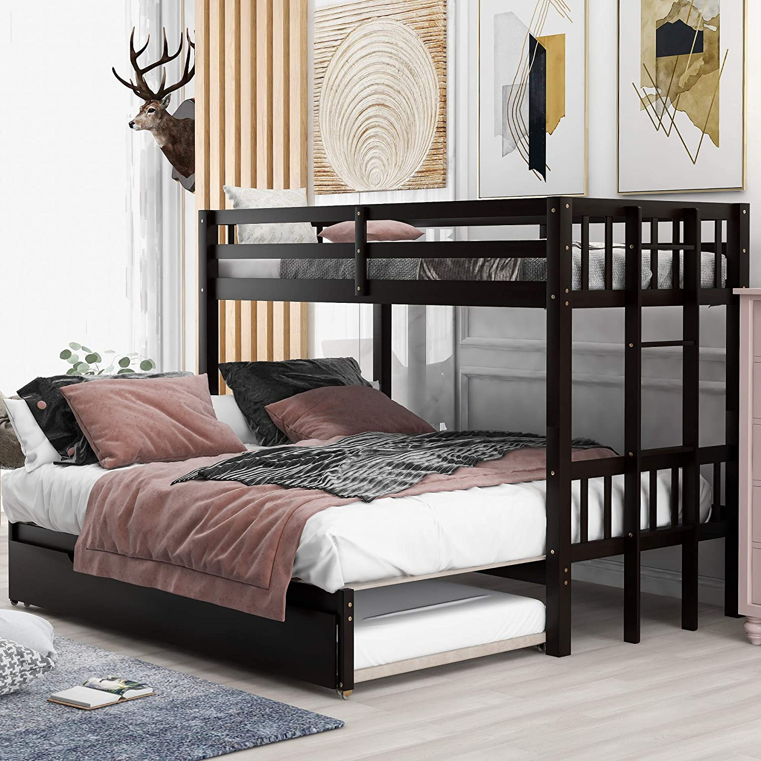Amazon Com Twin Over Pull Out Bunk Bed With Trundle Wooden Twin Over Twin Full Queen King Bunk Bed Accommodate 4 People Extendable Bunk Beds With Ladder And Safety Rail Espresso Kitchen Dining