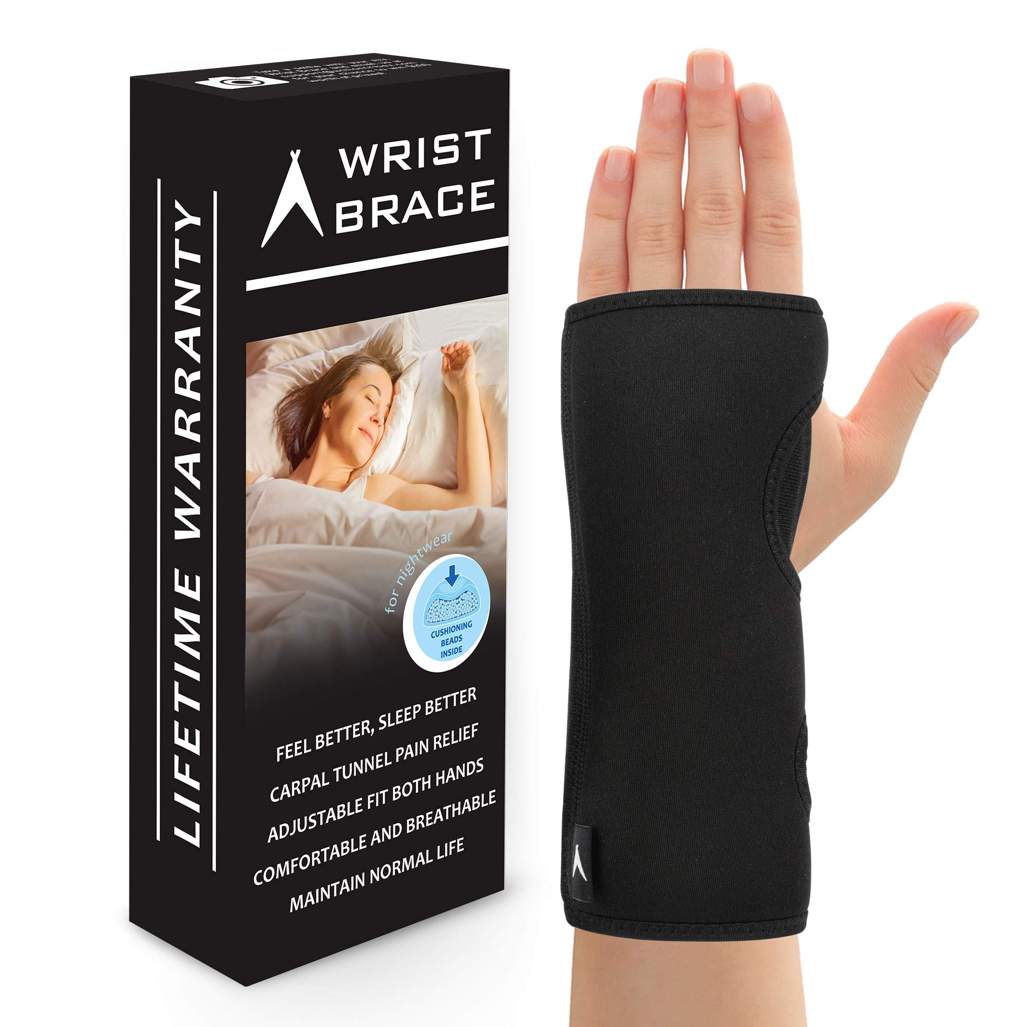 ATX Night Sleep Support Wrist Brace - Carpal Tunnel Relief - Fits Both Left & Right Hand - Removable Metal Splint and Cushioning Beads for Painless Sleep - Men and Women