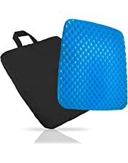 Comfort Gel Chair Seat Cushion - Provide Relief for Lower Back ,Coccyx,Sciatica,Tailbone or Hip Pain - Airflow Orthopedic Design Seat Pad for Wheelchair,Car,Office Chairs,Prevent Sweaty Bottom with Black Cover (Thick 3 cm)