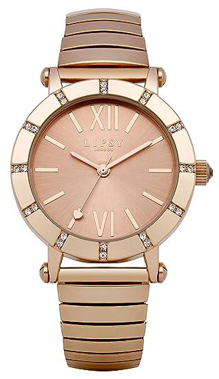 Lipsy LP100 - Reloj con mecanismo de cuarzo para mujer con esfera analógica de oro rosa y correa de aleación de oro rosa: Babar: Amazon.es: Relojes