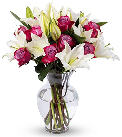 238 & Benchmark Bouquets Lavender Roses and White Oriental Lilies With Vase (Fresh Cut Flowers)