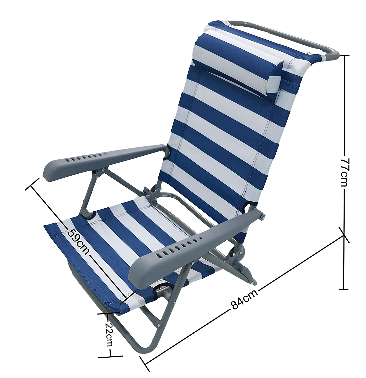 HOMECALL Beach folding Chair with LOUNGER FUNCTION and pillow,7 level position adjustment bottle opener