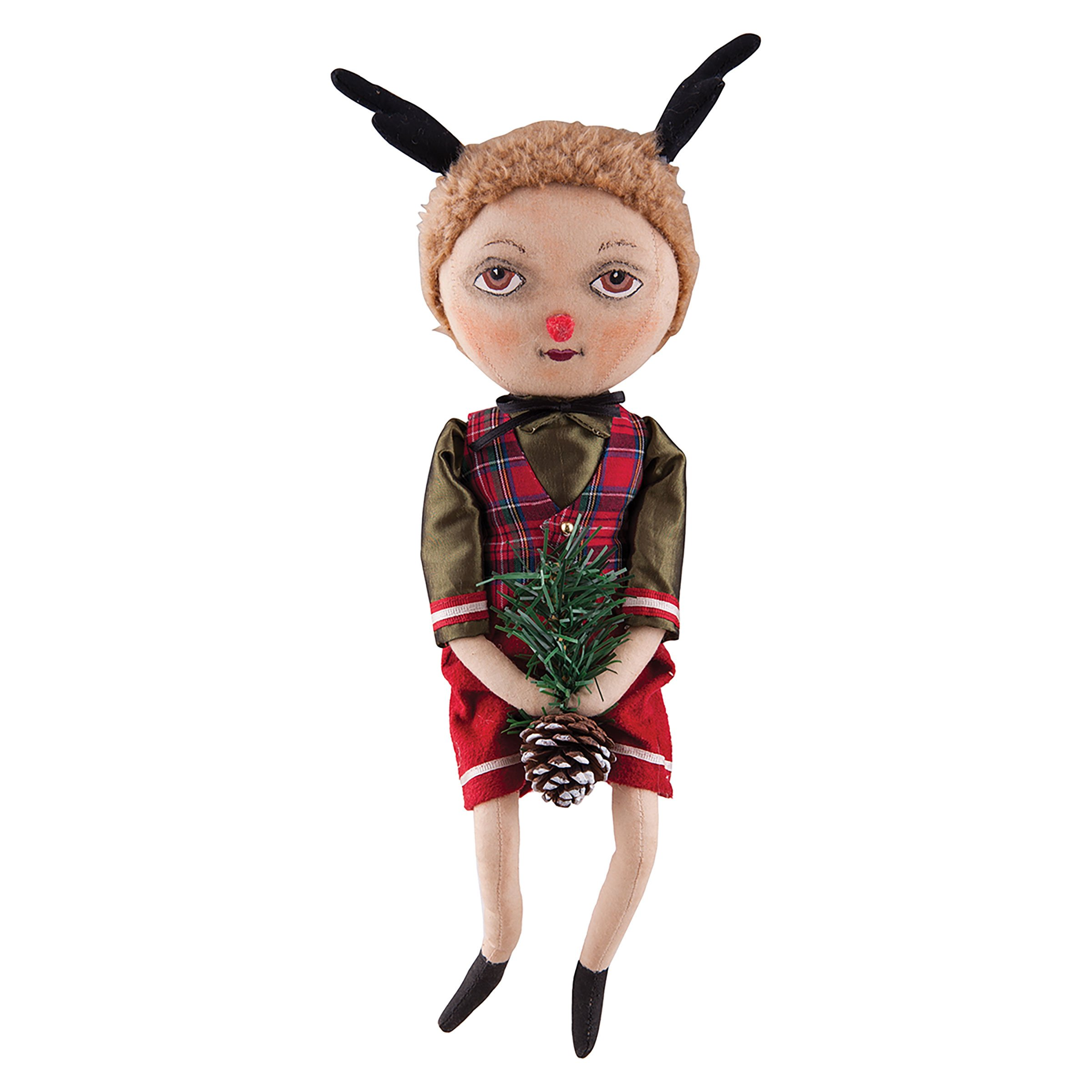 Fabric Figure Dudley Reindeer Boy Doll, 14-in.