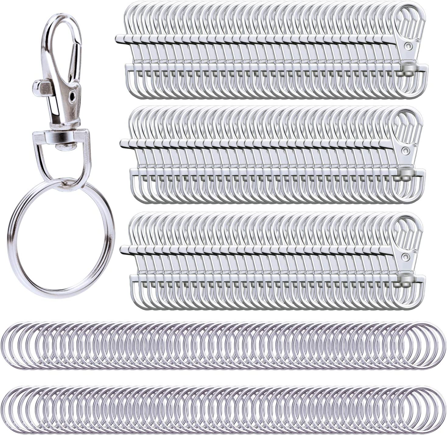 6 pcs Metal Swivel Lanyard Clip Snap Hook Lobster Claw Clasp With Key Rings US