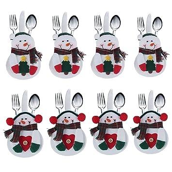 Decoración para la cubertería, diseño de traje de Papá Noel 8 Pcs Snowman: Amazon.es: Hogar