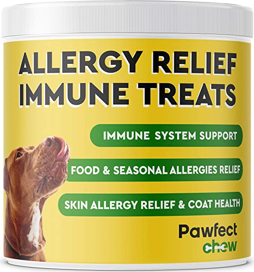 Pawfectchow Allergy Relief for Dogs - Immunity Supplement with Omega 3 Salmon Fish Oil, Colostrum, Digestive Prebiotics & Probiotics - Anti Itch & Skin Hot Spots - Made in USA - 150 Chews