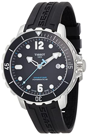 f6e5644de60 Image Unavailable. Image not available for. Colour  Tissot Men s  T0664071705702 Seastar Analog Display Swiss Automatic Black Watch