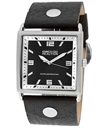 4fb7c0ef270 Kenneth Cole Reaction Men s Black Wide Genuine Leather Band Watch RK1103   Amazon.co.uk  Watches