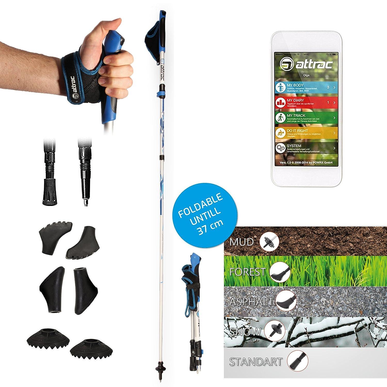 Attrac Nordic Walking/Bastones de trekking plegable ajustable 37–130cm con Sistema Click & Go ultraligeros Incluye Fitness App POWRX